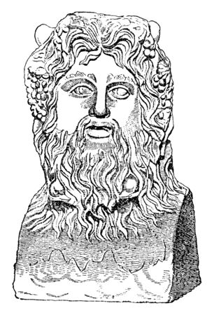 In this image a Sea-God are. he is very old statue, vintage line drawing or engraving illustration.