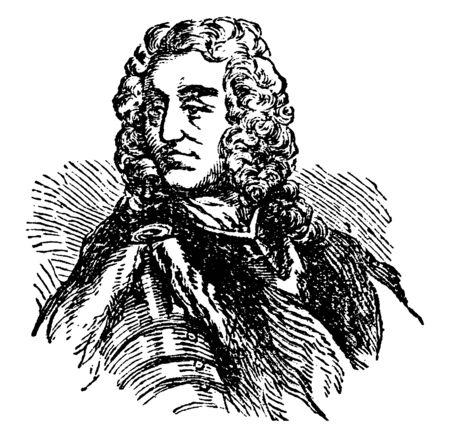 James Oglethorpe, 1696-1785, he was a British soldier, Member of Parliament, philanthropist, and governor of Georgia, vintage line drawing or engraving illustration 向量圖像