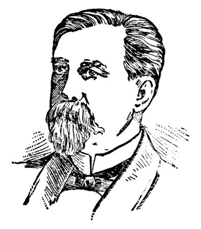Daniel Voorhees, 1827-1897, he was a lawyer, United States senator from Indiana and leader of the democratic party, vintage line drawing or engraving illustration