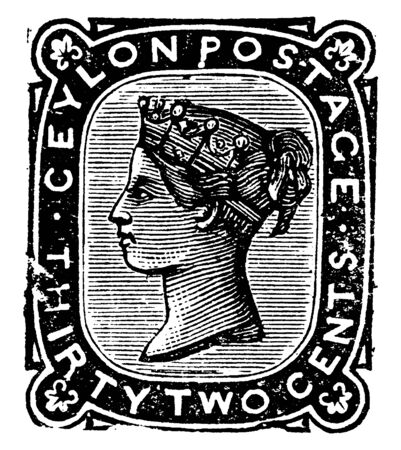 This image represents Ceylon Thirty Two Cents Stamp in 1872, vintage line drawing or engraving illustration.