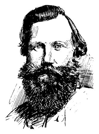 General J. E. B. Stuart, 1833-1864, he was a United States army officer and confederate states army general during the American civil war, vintage line drawing or engraving illustration
