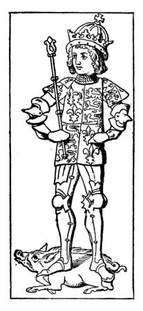 King Richard III, 1452-1485, he was the king of England from 1483 to 1485, vintage line drawing or engraving illustration 일러스트