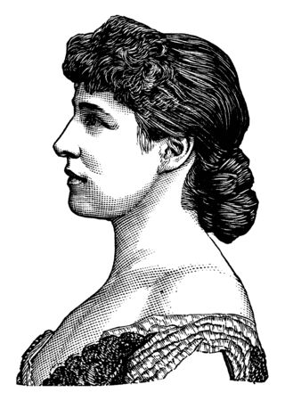 Lillie Langtry, 1853-1929, she was an actress and producer, vintage line drawing or engraving illustration