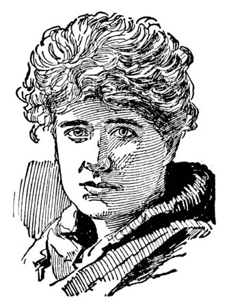 Ellen Terry, 1847-1928, she was an English actress, vintage line drawing or engraving illustration