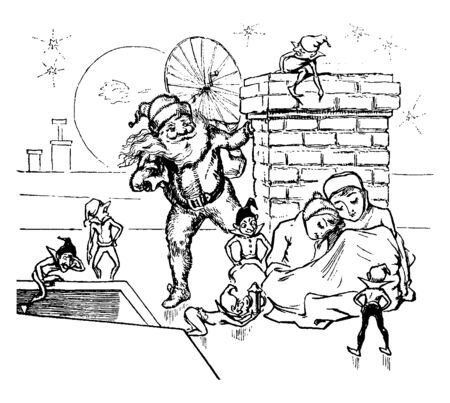 In this image there are two children are waiting for Santa Clause in the Roof. There is Santa-clause who is hiding behind a wall & watching children, vintage line drawing or engraving illustration.