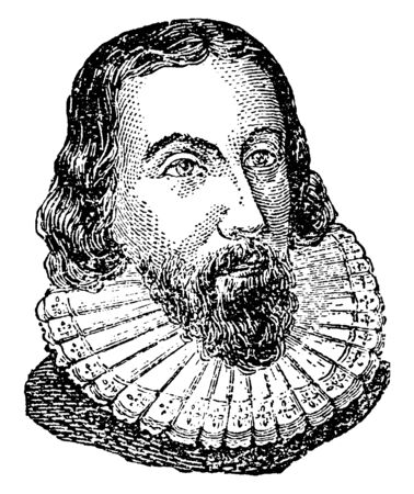 John Winthrop, 1587-1649, he was an English puritan lawyer and third governor of the Massachusetts bay colony, vintage line drawing or engraving illustration Ilustrace