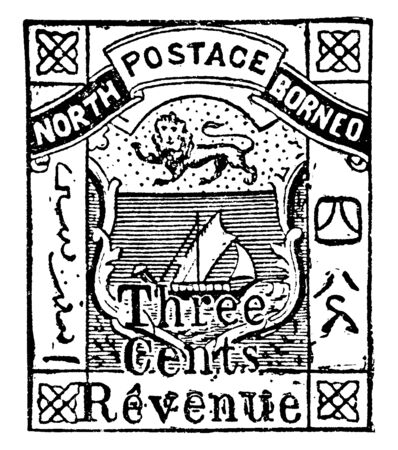 This illustration represents British North Borneo Revenue Stamp Three Cents in 1886, vintage line drawing or engraving illustration. 向量圖像