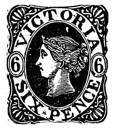 Victoria Six Pence Stamp from 1862 to 1863, vintage line drawing or engraving illustration.