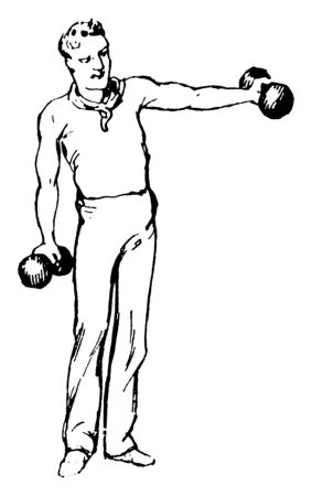A man is exercising with dumb bells. He holds dumb bells on both his hands. his right hand is down direction  & left hand is straight direction with shoulder, vintage line drawing or engraving illustration. Illustration