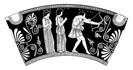 In this frame a man shoots a bow arrow and protects two women standing behind him, vintage line drawing or engraving illustration.