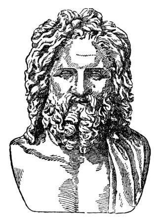 In this image a Zeus are Otricoli. This is an old man, vintage line drawing or engraving illustration.