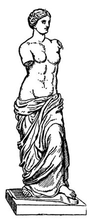 In this image an ancient Greek statue and one of the most famous pieces of ancient Greek sculpture, vintage line drawing or engraving illustration.