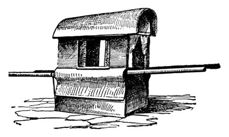 Palanquin is a covered litter for one passenger which consisting of a large box carried on two horizontal poles by four or six bearers, vintage line drawing or engraving illustration.