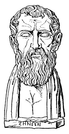 Zeno of Cyprus, he was a Greek philosopher and founder of the Stoic school, vintage line drawing or engraving illustration