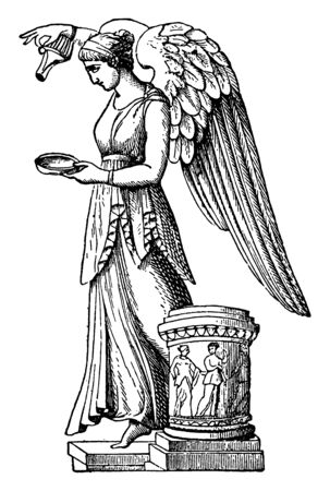 This is beautiful picture of the Greek goddess along with the eagle. In Greek mythology, she is believed to be known as Hebe, the cupbearer for the gods, vintage line drawing or engraving illustration.