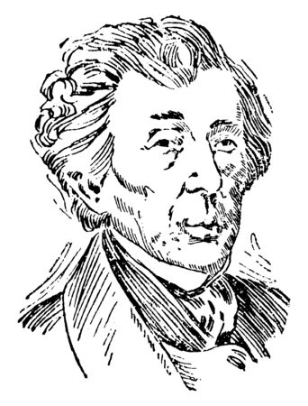 Roger Brooke Taney, 1777-1864, he was the fifth chief Justice of the supreme court and United States attorney general, vintage line drawing or engraving illustration Ilustração