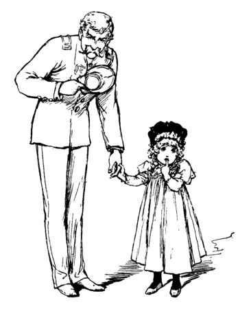 In this picture a girl and her father holding hands. She has put finger on her lips, vintage line drawing or engraving illustration.