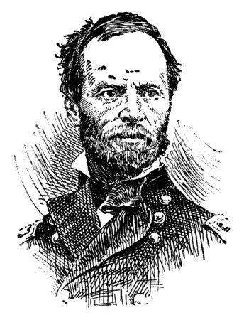 General William Tecumseh Sherman, 1820-1891, he was an American soldier, businessman, author and a general in the union army during the American civil war, vintage line drawing or engraving illustration