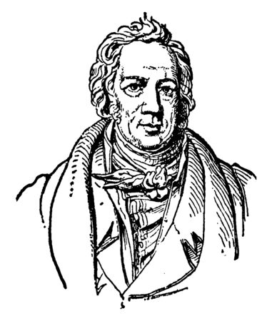 Friedrich A. Wolf, 1759-1824, he was a German Classicist and is considered the founder of modern Philology, vintage line drawing or engraving illustration