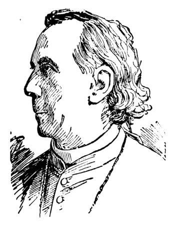Archbishop Feehan, 1829-1902, he was an American Catholic bishop, and first Archbishop of Chicago, vintage line drawing or engraving illustration 일러스트