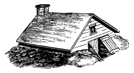 A picture depicts a room below the ground level in the house. This type of room is known as the cellar. This house has a Chimney. Outside the cellar there is slopey entrance, vintage line drawing or engraving illustration.