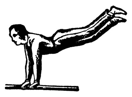 In this picture, gymnast walking on single bar with hands and keeping legs free straight in air .Gymnastics is a sport, vintage line drawing or engraving illustration.