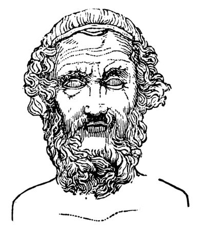 Homer, he was an ancient Greek poet who wrote the Iliad and the Odyssey, vintage line drawing or engraving illustration Ilustração