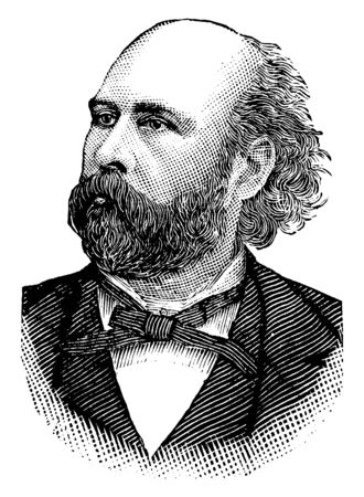 George Wallace Melville, 1841-1912, he was an engineer, arctic explorer and author, vintage line drawing or engraving illustration