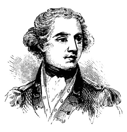 Banastre Tarleton, 1754-1833, he was a British soldier and politician, vintage line drawing or engraving illustration