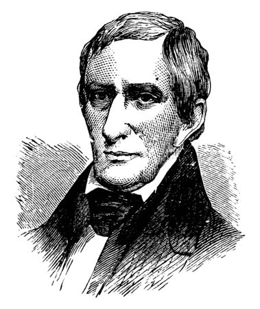 William Henry Harrison, 1773-1841, he was an American military officer, United States senator from Ohio, and the ninth president of the United States, vintage line drawing or engraving illustration Illustration
