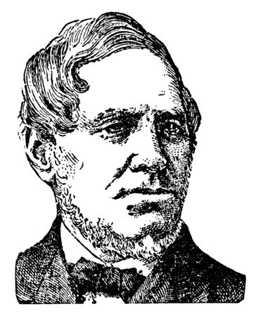 Samuel Smith, 1808-1895, he was an American Baptist minister, journalist, and author, vintage line drawing or engraving illustration