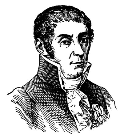 Count Alessandro Volta, 1745-1827, he was an Italian physicist, chemist, and the inventor of the electrical battery, vintage line drawing or engraving illustration Illustration
