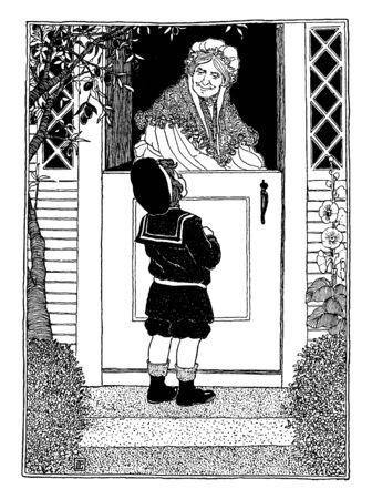 A boy visits an old woman standing at door, vintage line drawing or engraving illustration