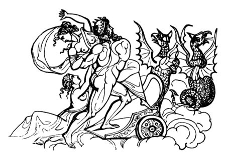 An ancient picture of Pluto abducting Proserpina. Pluto also known as Hades is a Roman god of the underworld and the judge of the dead, vintage line drawing or engraving illustration.