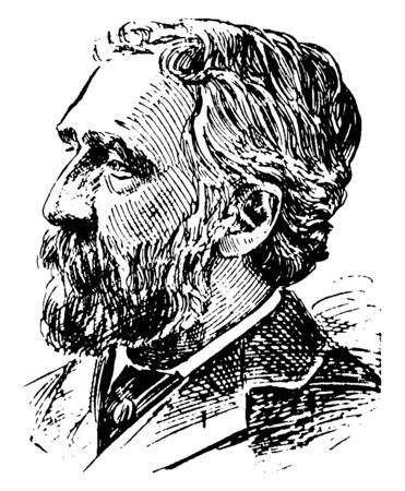 Charles Dudley Warner, 1829-1900, he was an American essayist and novelist, vintage line drawing or engraving illustration