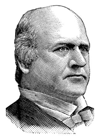 John Marshall Harlan, 1833-1911, he was an American lawyer, politician from Kentucky and an associate justice on the U.S. supreme court, vintage line drawing or engraving illustration