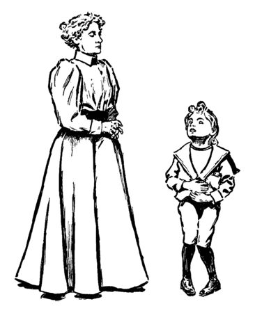 A boy complaining of a stomach ache to woman, vintage line drawing or engraving illustration