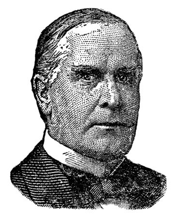 William McKinley, 1843-1901, he was the 25th president of the United States from 1897 to 1901, vintage line drawing or engraving illustration 向量圖像