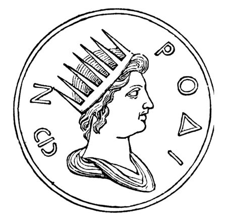 An ancient picture of Coin of Sol Invictus, the Roman god of Sun who wears a radiant solar crown on his head, vintage line drawing or engraving illustration.