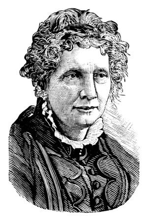 Harriet Beecher Stowe, 1811-1896, she was an American abolitionist and author, famous for her novel Uncle Toms Cabin, vintage line drawing or engraving illustration 向量圖像