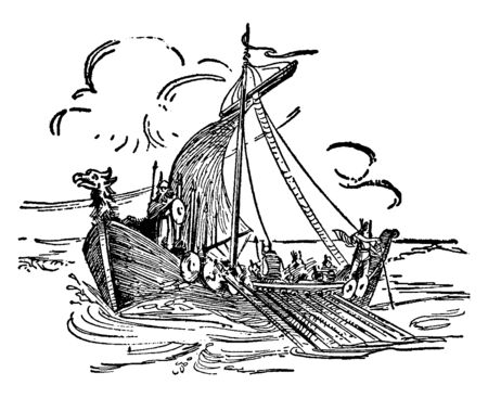 War Galley was a Norwegian Viking ship, vintage line drawing or engraving illustration.