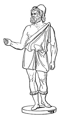 This is the picture of Hephaistus. In Greek mythology, he is known as the god of fire, vintage line drawing or engraving illustration. Stock Illustratie