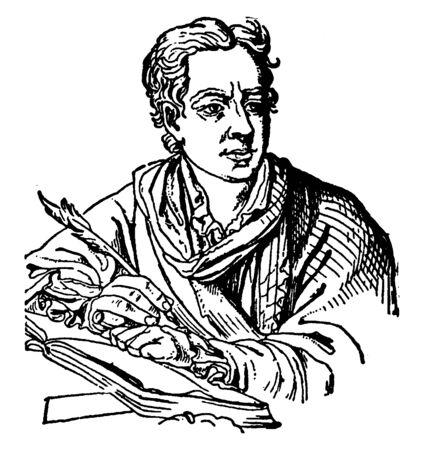 Johann Joachim Winckelmann, 1717-1768, he was a German art historian and archaeologist, vintage line drawing or engraving illustration Foto de archivo - 133485813