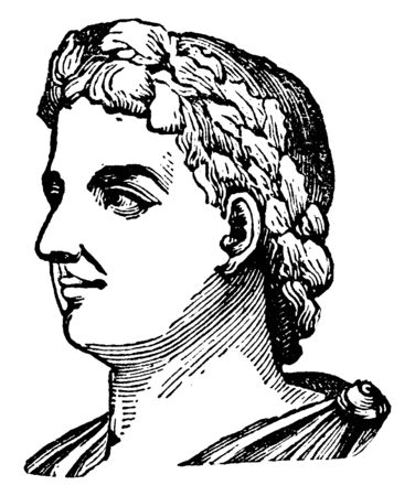 Alexander Severus, he was Roman Emperor, vintage line drawing or engraving illustration Иллюстрация