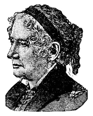 Harriet Beecher Stowe, 1811-1896, she was an American abolitionist and author, famous for her novel Uncle Tom's Cabin, vintage line drawing or engraving illustration Ilustração Vetorial