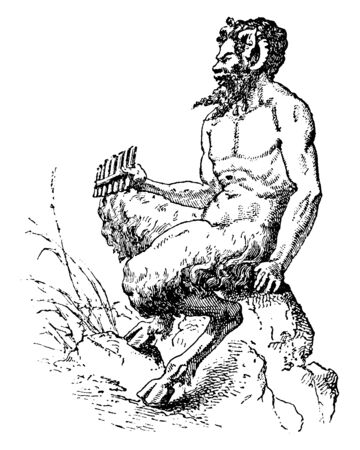 An ancient picture of Pan, the Greek god of shepherds and flocks sitting on a stone holding the reed pipe, vintage line drawing or engraving illustration.