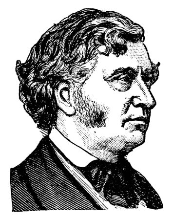 Charles Sumner, 1811-1874, he was a lawyer, an American politician, powerful orator and United States senator from Massachusetts, vintage line drawing or engraving illustration