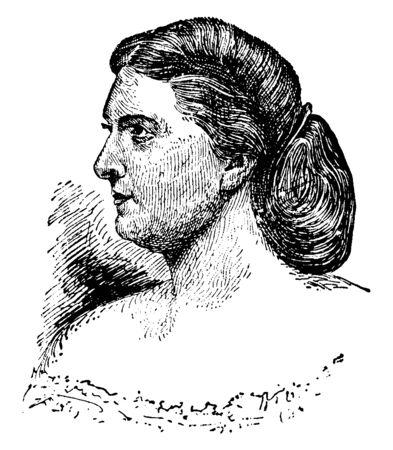 Harriet Lane, 1830-1903, była pierwszą damą Stanów Zjednoczonych od 1857 do 1861, vintage rysowania linii lub Grawerowanie ilustracja