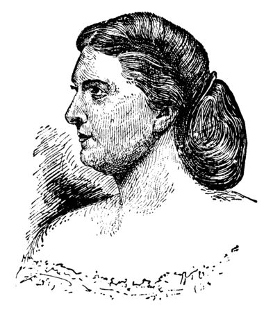 Harriet Lane, 1830-1903, she was the first lady of the United States from 1857 to 1861, vintage line drawing or engraving illustration