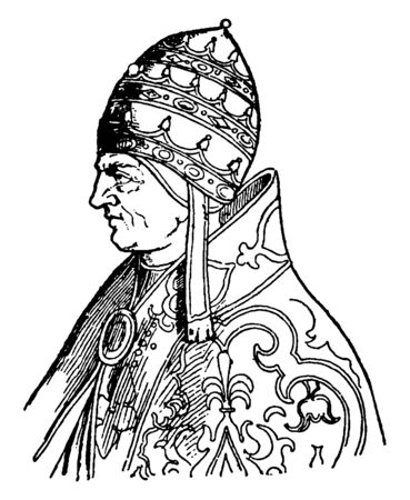 Pope Urban V, 1310-1370, he was Roman catholic pope from 1362 to 1370, vintage line drawing or engraving illustration